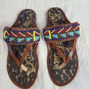 SAM EDELMAN Size 8-1/2 8.5 M Brown Beaded Thong Sandals Flats Shoes Slides Women