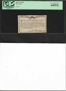 New York Colonial Currency Jan. 6, 1776 8s  Very Choice New 64PPQ