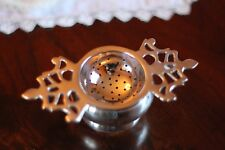 Tea Strainer, Silver Plated w/ Drip Bowl, Antique Reproduction, Greenwich Style