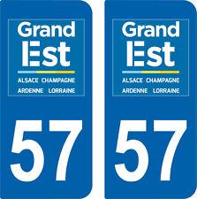 2 Stickers style immatriculation auto Département Grand-EST MOSELLE 57