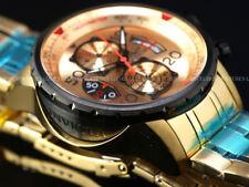 Invicta Men 48mm Gunmetal Compass Aviator Japan Chronograph Gold Tone SS Watch