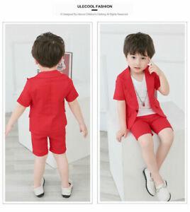 2PCS Korean Baby Kids Boys Outfits Suit Coat+ shorts Wedding Party Clothes Sets