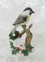 "Vtg 1987 Andrea by Sadek Bird Figurine Chickadee with Holly 7843 5-1/4"" H Japan"