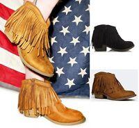 Soda Suede Fringe Ankle Heel Western Boots #Jervis-s