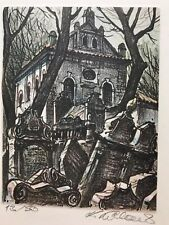 Old Jewish Cemetery Klausen Synagogue Prague Lithograph Signed Numbered Czech
