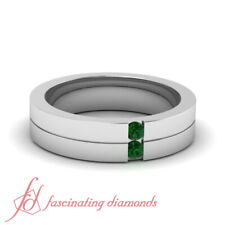 Mens Two Stone Channel Set Wedding Band With Round Cut Emerald Gemstone 0.10 Ctw