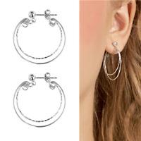 Solid 925 Sterling Silver Double Hoops Bead Rope Circle Sleeper Drop Earrings