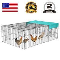 """Pet Playpen w/Door & Cover Rabbit Enclosure Dog Cat Cage Chicken Coop 72"""" x 48"""""""