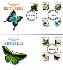 1983 Australian Animal Series Iii Butterflies on 2 Fdc's - Dareton Nsw 2717 Pmk