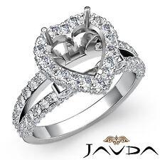 Diamond Engagement Heart Shape Ring 1.55Ct Platinum 950 Halo Pave Set Semi Mount