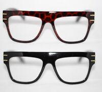Flattop Nerd Brille Klarglas Hornbrille Herren thick frame leo schwarz 87