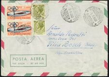 1186 ITALY TO ARGENTINA AIR MAIL COVER 1960 OLYMPIC STAMPS CASTRONNO - V. BOSCH