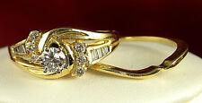 .50 CT Total Weight Genuine Diamond Wedding Set .25 CT Center - 14KT Gold