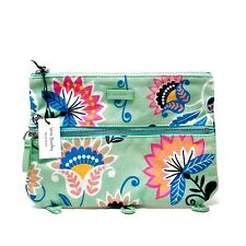Vera Bradley Colorful Pencil Pouch Mint Flowers 3 Loops for Binder New With Tags
