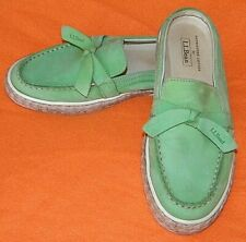 LL Bean Leather Shoes Slip-on Slides Mules Sunwashed Canvas Green - WOMEN'S 6.5