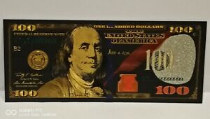 T1, Collectable New USA Gold Black Coloured Plated One Hundred Dollar Banknote