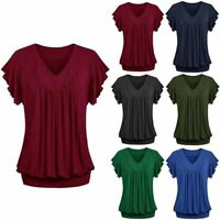 New Plus Size Loose V Neck Solid Color Short Sleeve Top Pleated Blouse T-shirt