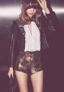 NEW Free People Bronze Gold Time To Shine Sequin Shorts Sz XS Retails $128