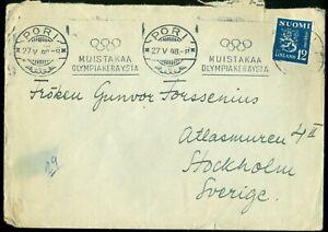 Finland Cover Pori 1948 Olympic Games Postal Cachet + War Invalids Vignette
