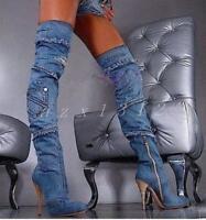 Hot Womens Over Knee Boots Denim Stilettos High Heel Pointed Toe Cowboy Zip Shoe