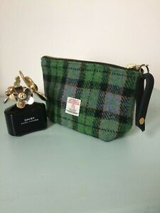 Harris tweed pouch,plaid cosmetic bag, tartan purse, made in gift for her,