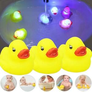 3pcs Yellow Squeaky Duck Flashing Rubber Colorful LED Light Up Bath Toys For Kid
