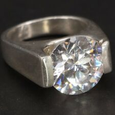 Statement Ring Size 7 - 12g Sterling Silver - Cz Cubic Zirconia Solitaire