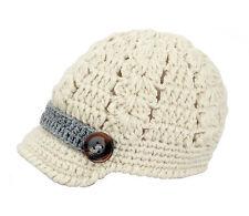 crochet knit baby newsboy infant brim buttons hat cap photography prop