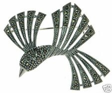 Of Paradise Pin Brooch ' Solid 925 Sterling Silver Marcasite Bird