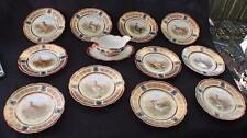 Antique MZ Moritz Zdekauer Austria Maroon Gold Rim GAME BIRD 12 Pc Serving Set