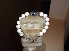 "White Turquoise Blue Lapis Beaded Bracelet Men'S Handmade 8 1/2"" 10 Mm Matt"