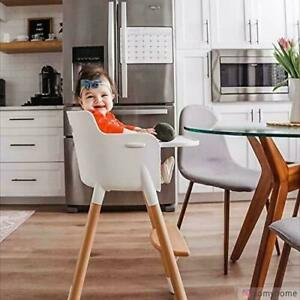 Kid Wooden Lags High Chair for Babies and Toddlers 3-in-1 Off White