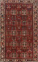 Antique Bakhtiari Garden Design Area Rug 6x10 Wool Hand-Knotted Oriental Carpet