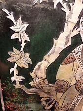 1880 Ca ANTICO MICROMOSAICO IN MADREPERLA PANNELLO LEGNO CINA DIPINTO Shibayama