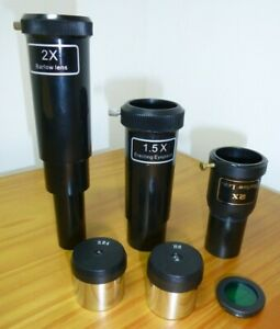 "Telescope Eyepieces 1.25"", 4mm, 6mm Huygens, Barlow"