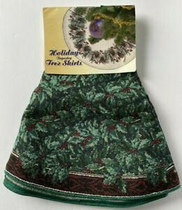 """Manual Woodworkers & Weavers Holiday Tapestry Tree Skirt 44"""" New"""