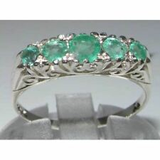 Luxury Solid Sterling Silver Natural Emerald Victorian Style Eternity Ring