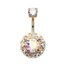Golden Aurora Sparkle Belly Button Ring Clear/Aurora Borealis 14G