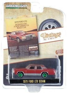 "Chase 1979 FORD LTD SEDAN BURGUNDY ""VINTAGE AD CARS"" 1/64 GREENLIGHT 39060 C"