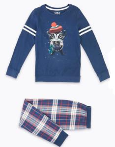 Ex M&S Girls Navy Tartan Dog Misletoe Christmas Xmas Pyjamas  6 - 14 Years £18