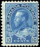 Canada #117 mint F OG HR DG 1922 King George V 10c blue Admiral Wet Printing