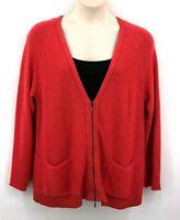 J Jill Women's Cardigan Sweater Large Coral Zipper Front Pockets Raglan Sleeves