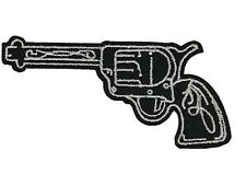Revolver Pistol Gun Embroidered Patch Black Iron On Applique Biker 2nd Amendment