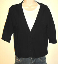 Coldwater Creek Black Button-Down Short Sleeve Viscose Cardigan Size Medium