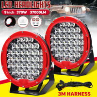 2X 9 Inch 370W 37000LM LED Round Work Light Spot Flood Driving Lamp offroad SUV