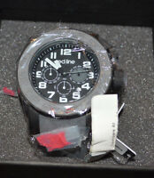 Men's Red Line Driver Water Resistant Chronograph Stainless Steel Designer Watch