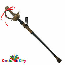 Adults Renaissance Musketeer Sword & Scabbard Fancy Dress Costume Accessory