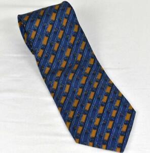 Mint HERMES Blue & Gold Repp Stripe w/Knots Pattern 100% Silk Tie  7678TA