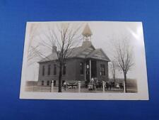 REAL PHOTO POSTCARD SCHOOL CHURCH BRITISH FLAG CHILDREN BOYS GIRLS OLD BUILDING