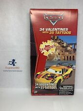 (LA) 34 Count Disney Pixar Cars Valentines Day Cards w/ 35 Tattoos